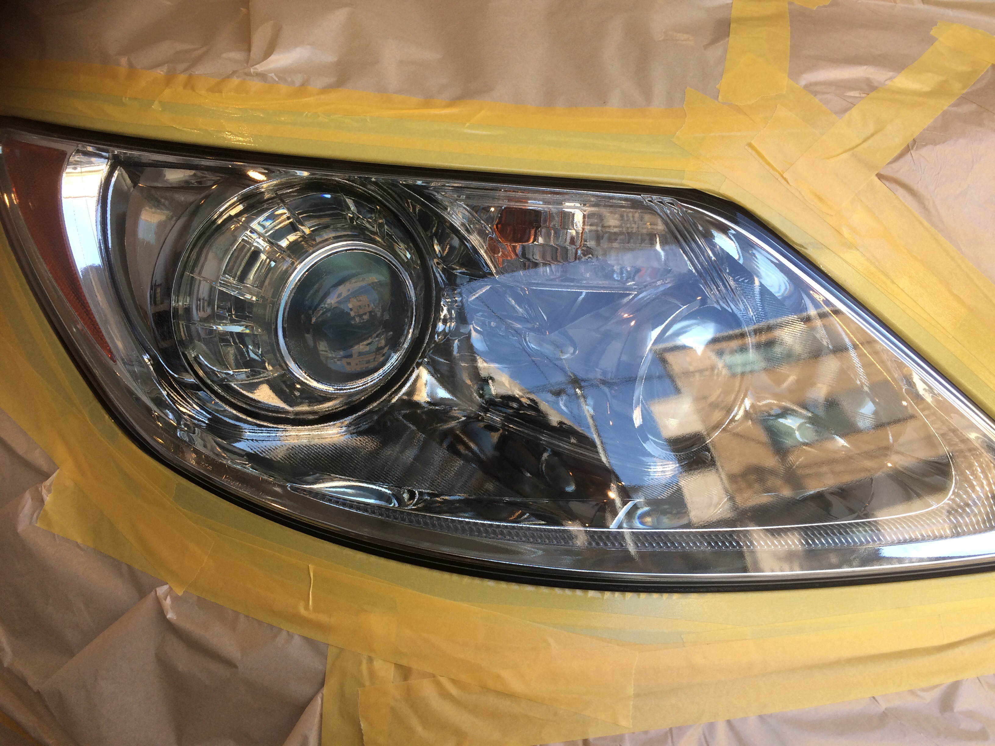 LS460ヘッドライト磨き