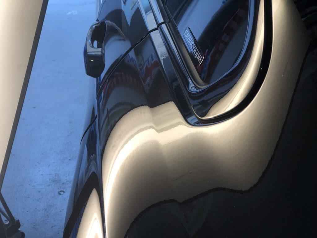 BMW 420i グランクーペのクォーターパネルのデントリペア施工後