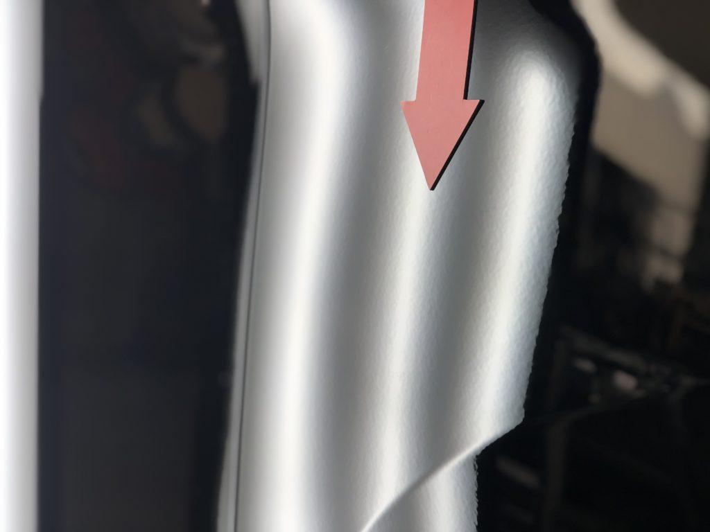 トヨタ アルファードのフロントフェンダーの凹み修理施工後